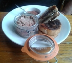 Pork, duck liver and brandy paté with toast