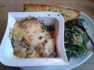 Lasagne and garlic bread