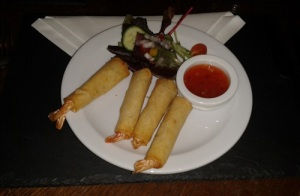Filo prawns and sweet chilli dip