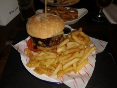The Ship Inn - 1/2 lb barbeque burger and chips