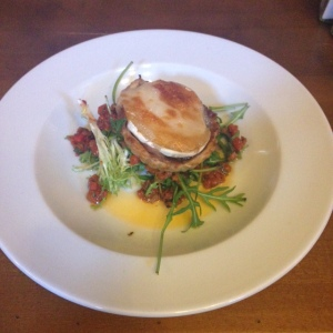 Gloucester Old Spot - caramelised red onion tart with Goats cheese